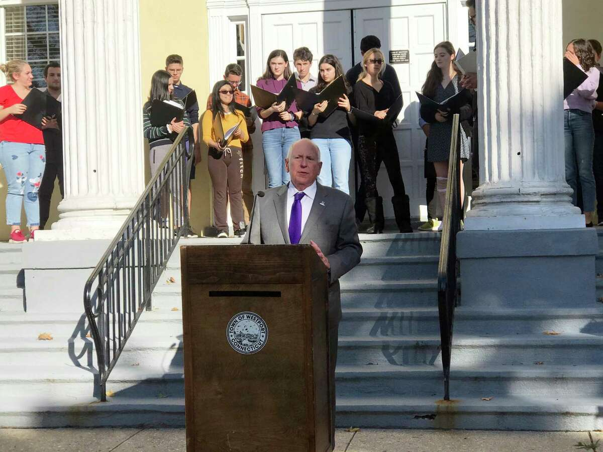First Selectman Jim Marpe gave his remarks in celebration of the 74th anniversary of United Nations Day.