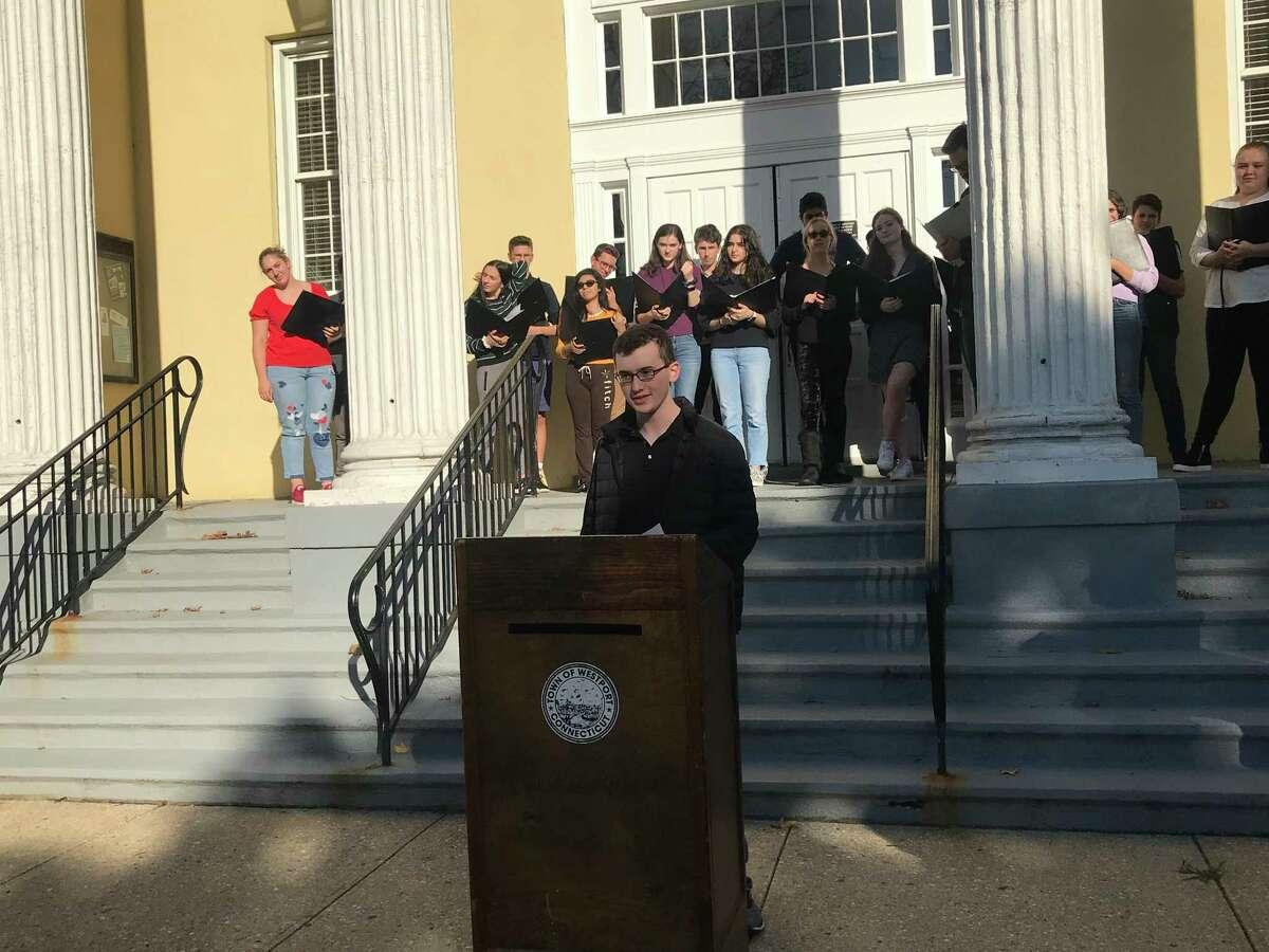 Scott Fullenbaum, president of Staples High School Model UN, spoke at United Nations Day Celebration.