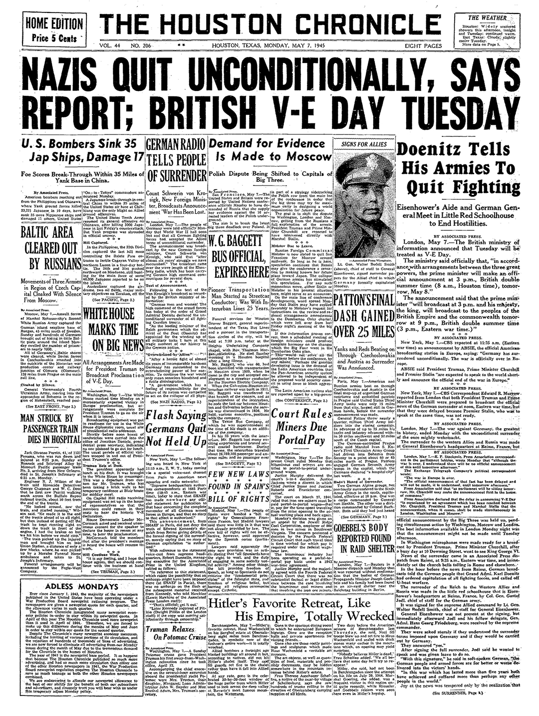 Nazis Quit Unconditionally, Says Report; British V-E Day Tuesday