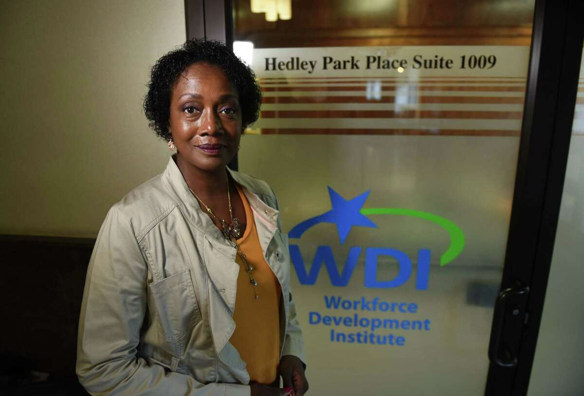 Crickett Thomas-O'Dell, regional director at Workforce Development Institute, is pictured at the WDI offices on Thursday, Sept. 12, 2019, in Troy, N.Y. (Will Waldron/Times Union)
