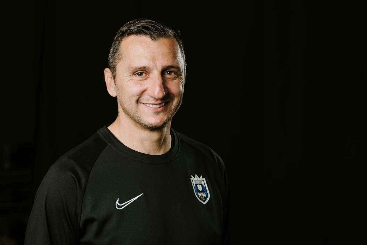 TACOMA, WA - OCTOBER 16: Reign FC head coach Vlatko Andonovski poses during a studio and portrait shoot at Cheney Stadium on October 16, 2019 in Tacoma Washington. (Photo by Jane Gershovich/ISI Photos/Getty Images)