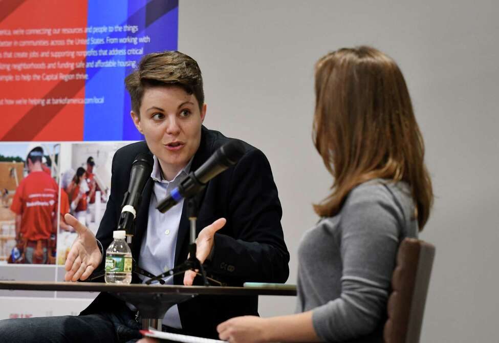 Heidi Knoblauch, owner of Plumb Oyster Bar in Troy and founder of Receipt HQ, left, is interviewed by Women@Work Senior Editor Sara Tracey, right, during the Women@Work September breakfast on Wednesday, Sept. 11, 2019, at the Hearst Media Center in Colonie, N.Y. (Will Waldron/Times Union)