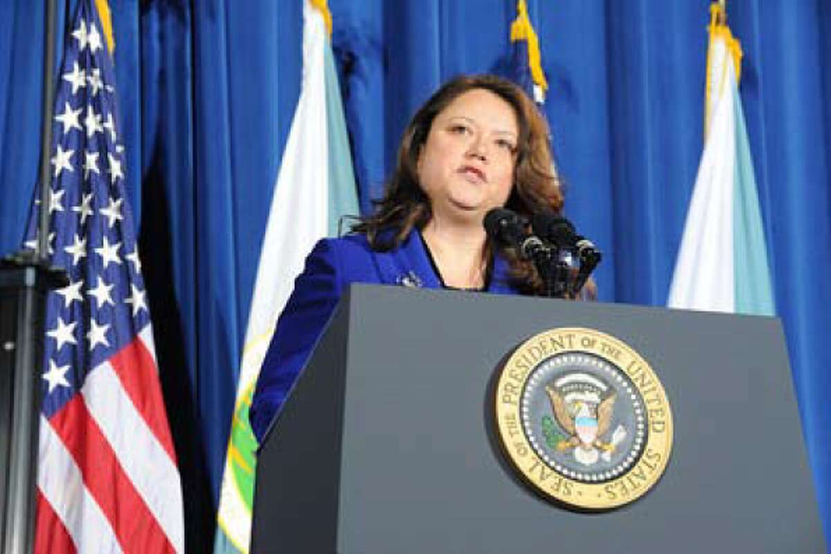 Quinault Indian Nation President Fawn Sharp stands at the podium addressing the 2010 White House Tribal Nations Conference.