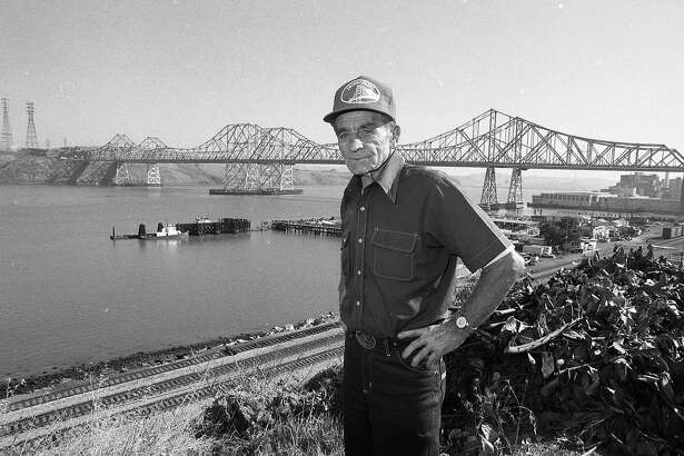 Alfred Zampa, an ironworker who worked on many of the Bay Area bridges, including the Carquinez Bridge, which is in the background, October 6, 1986