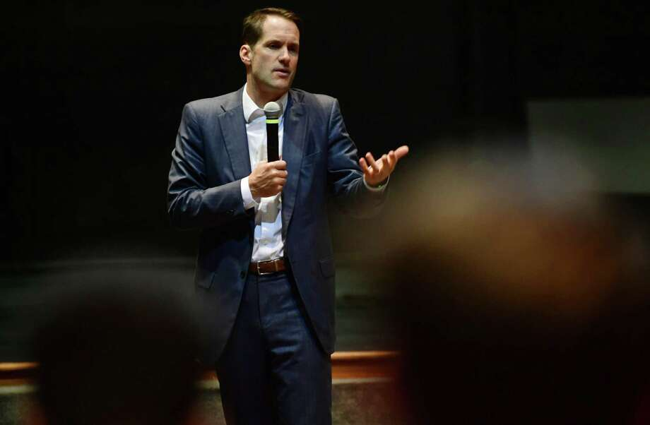 U.S. Rep Jim Himes, D-4, discusses gun violence prevention and the importance of political participation by college students at Norwalk Community College Thursday, October 10, 2019, in the David L. Levinson Ph.D. Theater on the East Campus in Norwalk, Conn Photo: Erik Trautmann / Hearst Connecticut Media / Norwalk Hour
