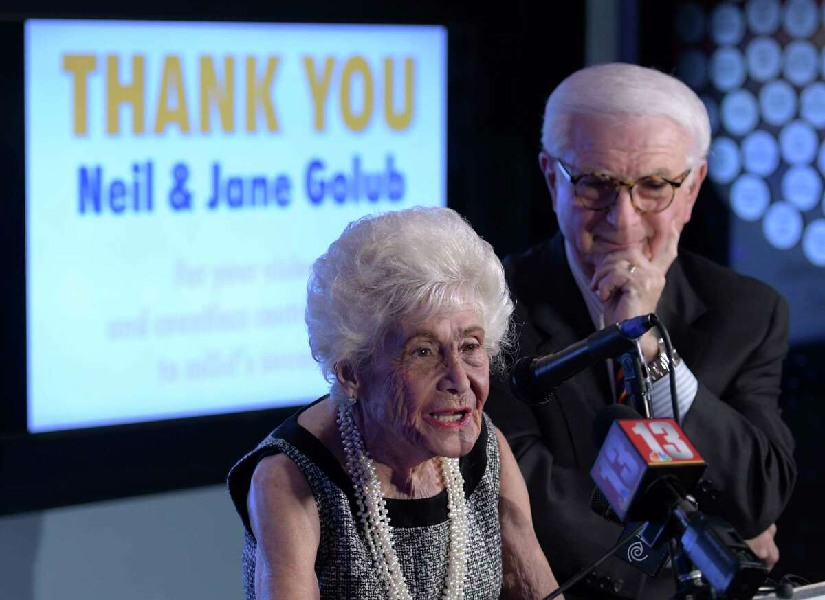 Jane Golub, with husband, Neil, speaks at a presentation where the pair were honored by the Museum of Innovation and Science (miSci) for their years of dedication to the museum on Wednesday, Nov. 30, 2016, in Schenectady, N.Y. (Skip Dickstein/Times Union)