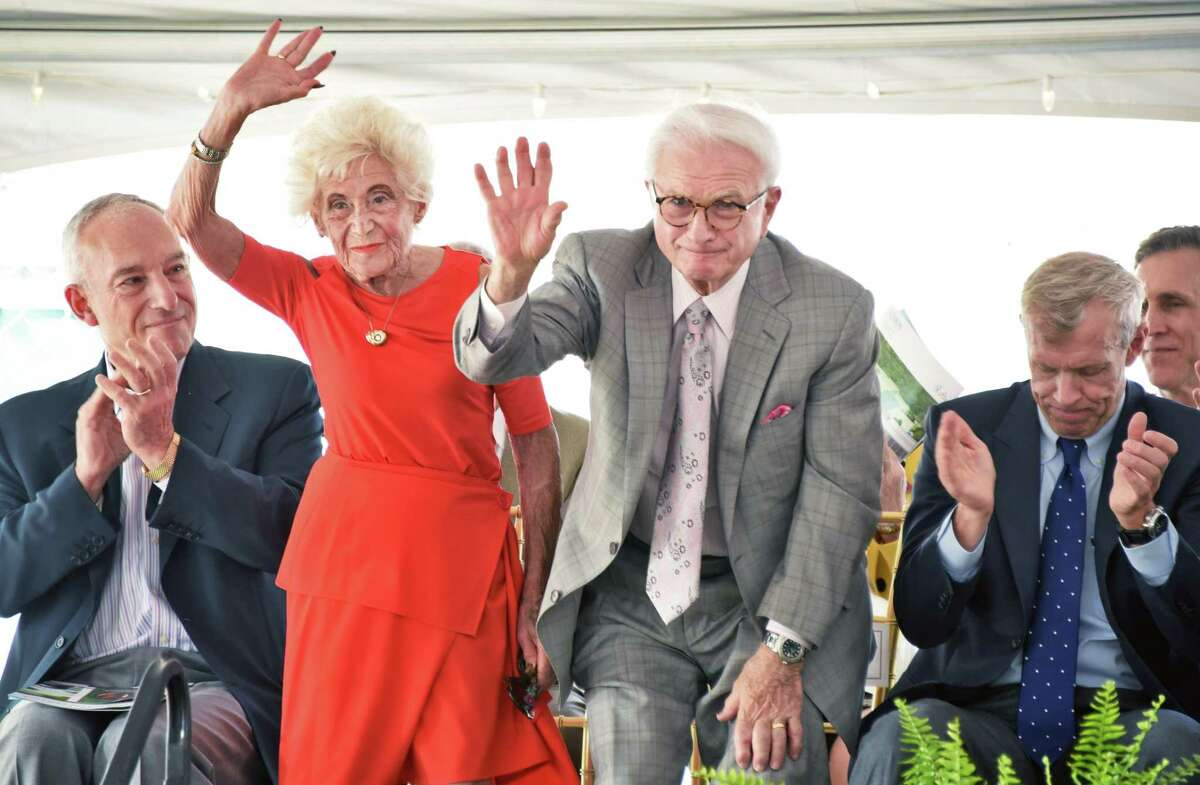 Neil and Jane Golub are recognized for their contributions during groundbreaking ceremonies for the college's $100 million Integrated Science and Engineering Complex, the largest and most ambitious project in the schoolA?•s history, Friday May 19, 2017 in Schenectady, NY. (John Carl D'Annibale / Times Union)