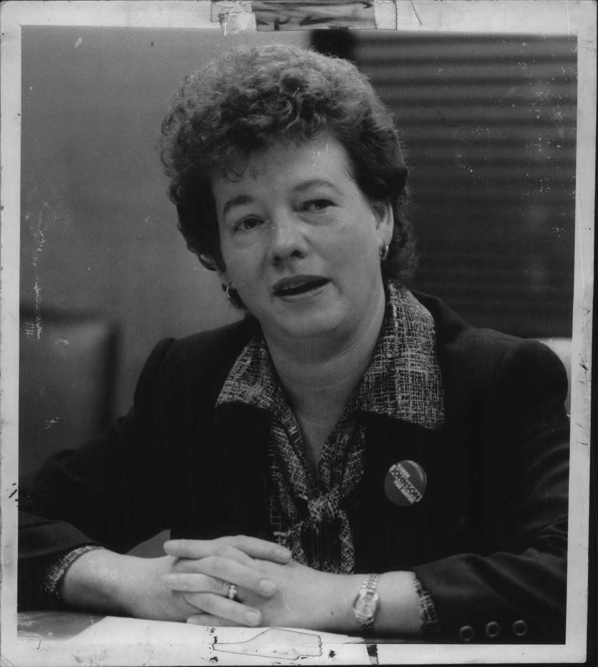 Schenectady, New York Mayoral candidate Karen Johnson in Albany. October 27, 1983 (Times Union Archive)