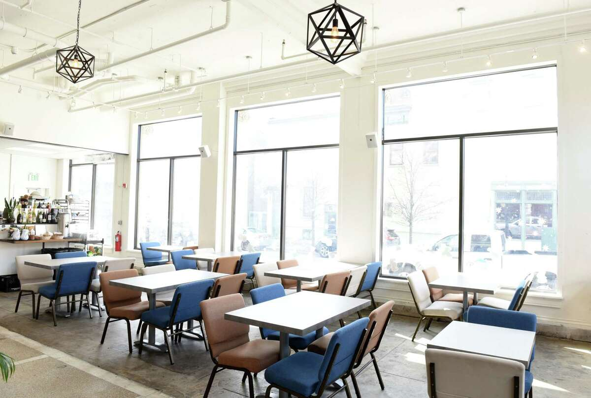 Interior of Bard & Baker on Tuesday, March 12, 2019, in Troy, N.Y. The board game cafe is located in the former Troy Record building. (Will Waldron/Times Union)