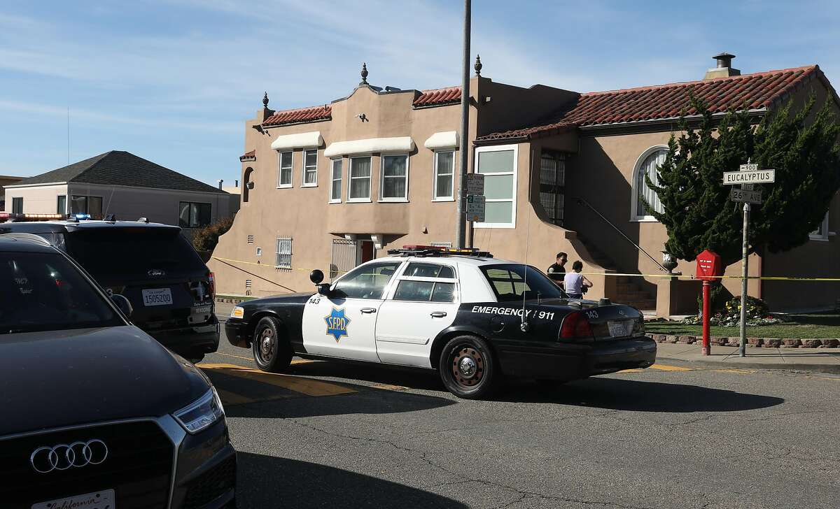 Police investigate a report of a shooting at 3089 26th Ave. across from Lowell High School on Thursday, Oct. 24, 2019, in San Francisco, Calif.