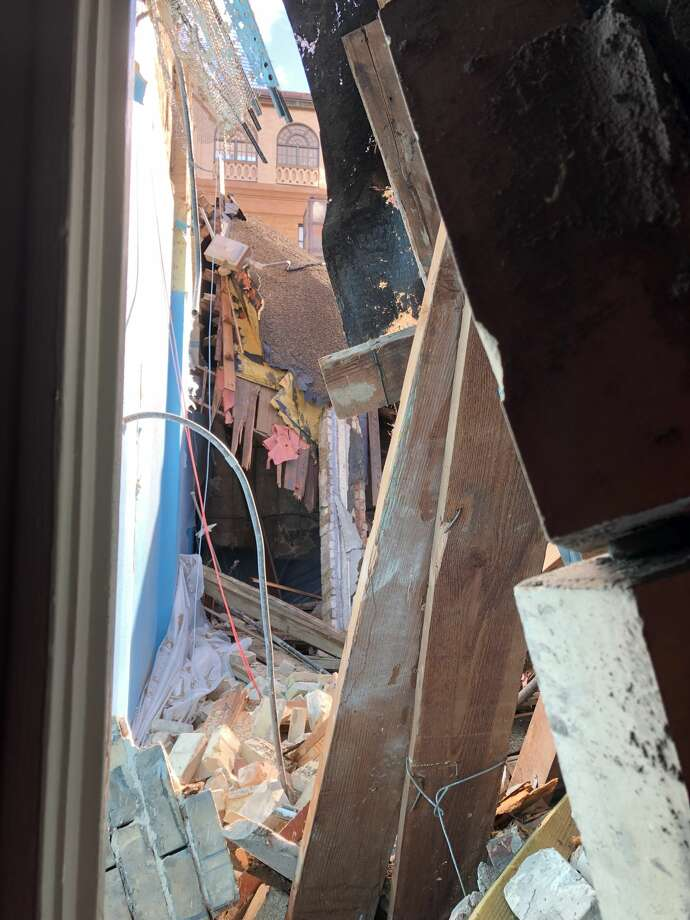 A sprinkler system pipe broke on the third floor of the Travis Park United Methodist Church on Friday, Oct. 25, 2019, after a portion of the building's roof collapsed and caused flooding. Photo: Courtesy Of Travis Park United Methodist Church