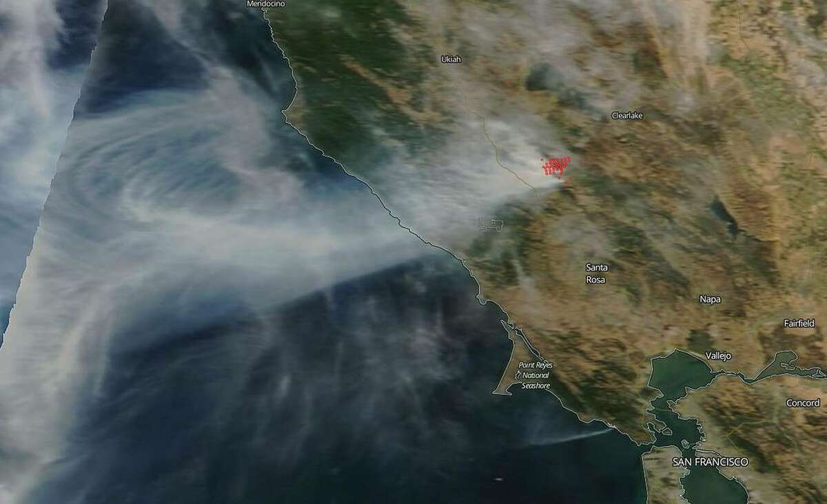 NASA's Terra satellite captured an image of the Kincaid wildfire located in Northern California's Sonoma County which broke out on Wednesday night, Oct. 23, 2019.