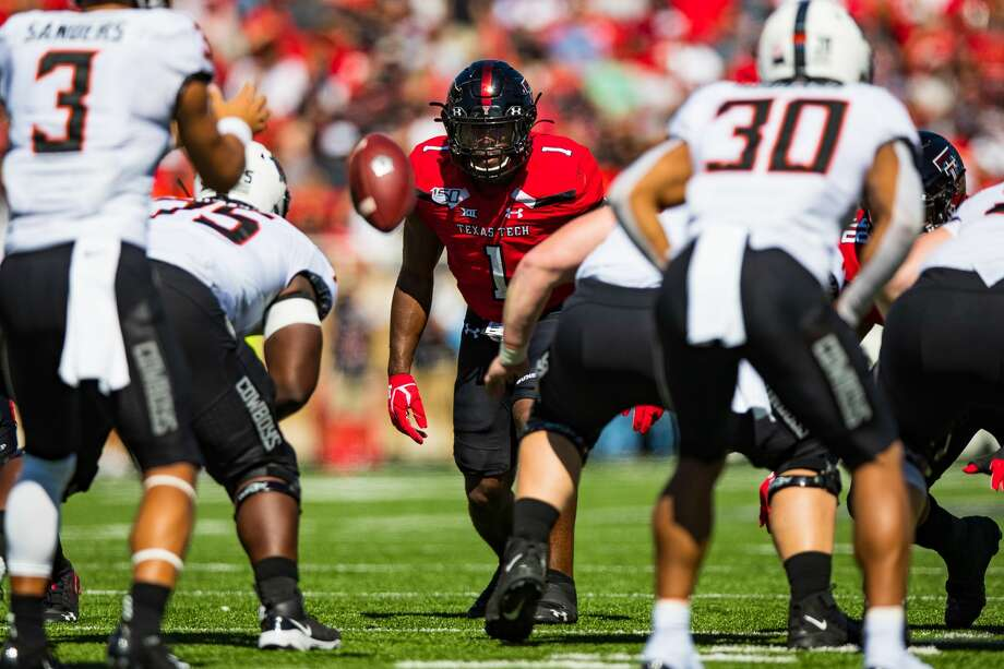 LUBBOCK, TEXAS - OCTOBER 05: Linebacker Jordyn Brooks #1 of the Texas Tech Red Raiders watches the snap during the first half of the college football game against the Oklahoma State Cowboys on October 05, 2019 at Jones AT&T Stadium in Lubbock, Texas. (Photo by John E. Moore III/Getty Images) Photo: John E. Moore III/Getty Images