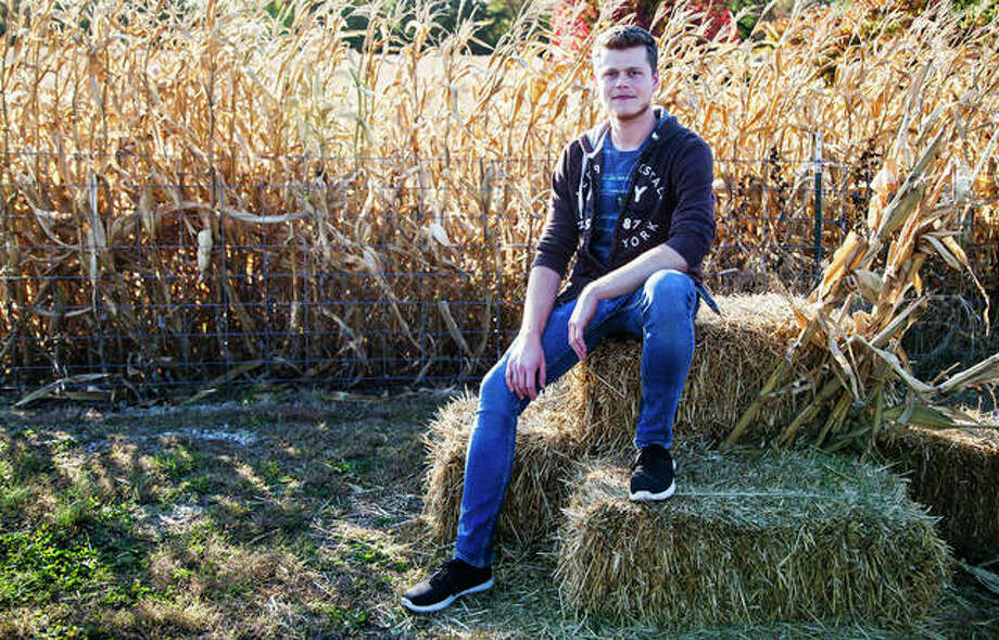 Jordan Bruce, is a Halloween enthusiast and a volunteer at the Haunted Great Godfrey Corn Maze in Glazebrook Park, 1401 Stamper Lane, Godfrey. Photo: By Jeanie Stephens|The Telegraph