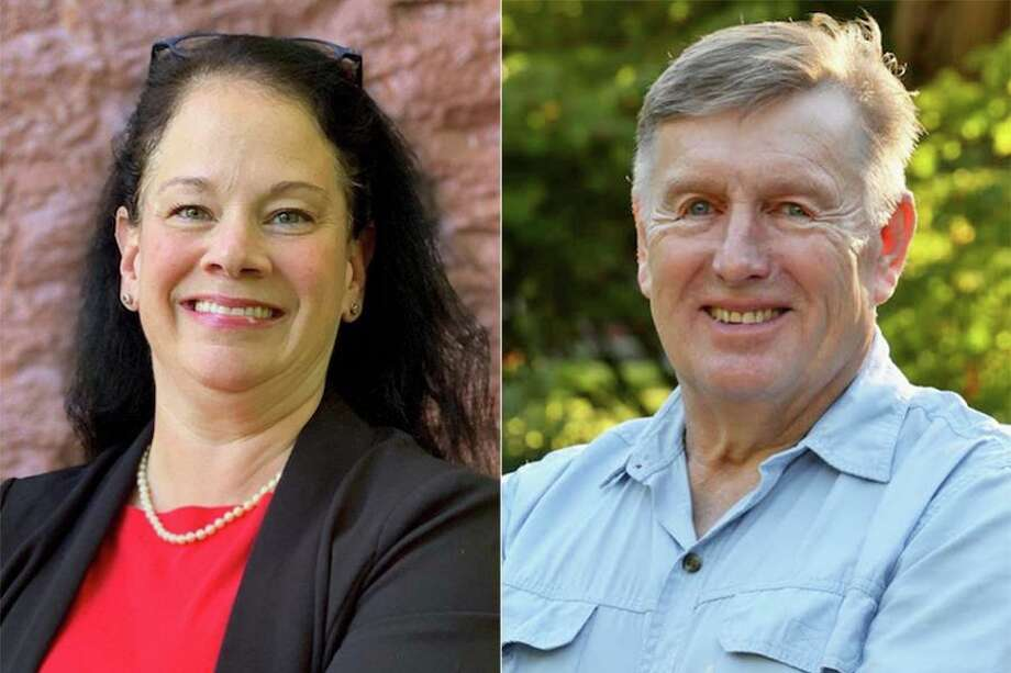 Kent first selectman candidates Democrat Jean Speck, left, and Republican Ed Matson, right. Photo: Contributed Photos