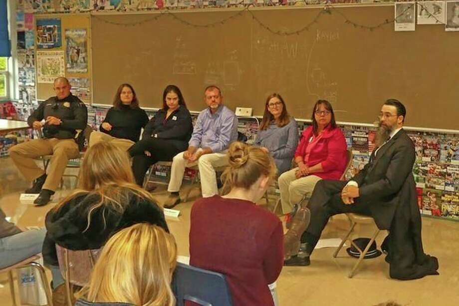 Members of the Human Services Panel talk to students about their work life. (Courtesy photo/John Ester)