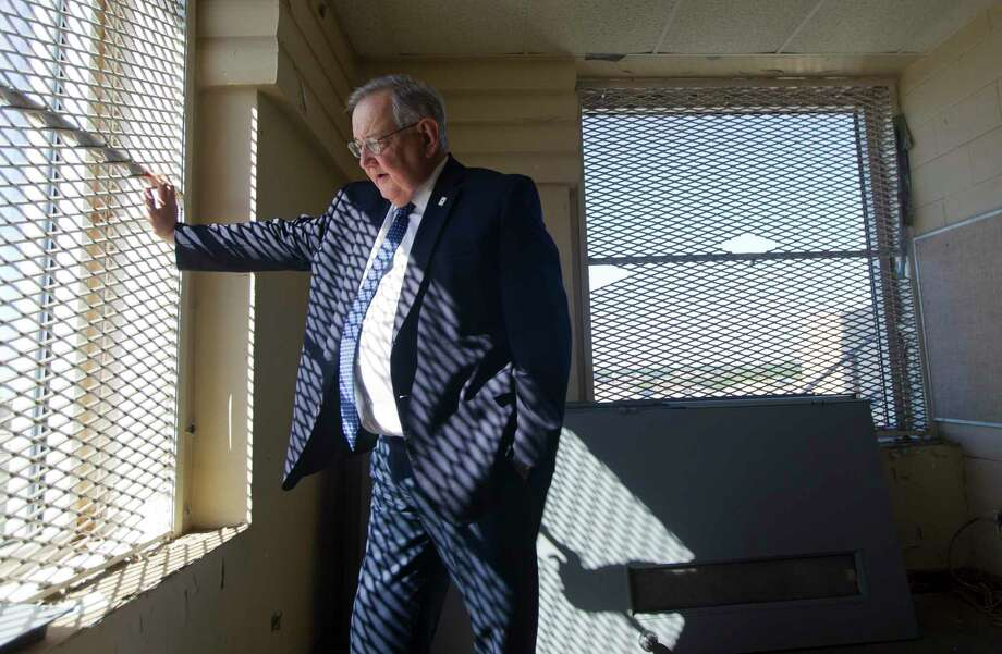 Larry Forester, head of the Montgomery County Historical Commission, refelcts on his time working in various roles in Montgomery County during a visit to the unused jail cells in the Montgomery County Courthouse, Tuesday, Oct. 22, 2019, in Conroe. Photo: Jason Fochtman, Houston Chronicle / Staff Photographer / Houston Chronicle