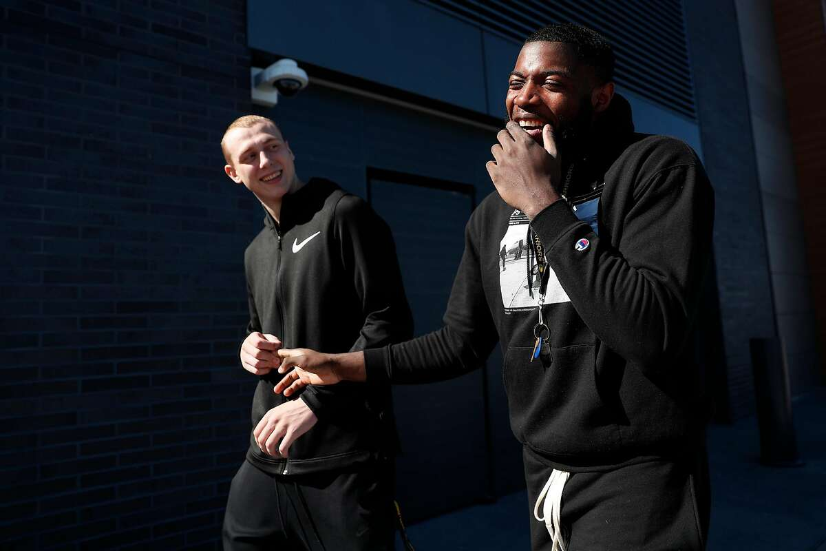 Golden State Warriors' Alen Smailagic and Eric Paschall in San Francisco, Calif., on Monday, October 21, 2019. They can walk from their apartments to the Chase Center.