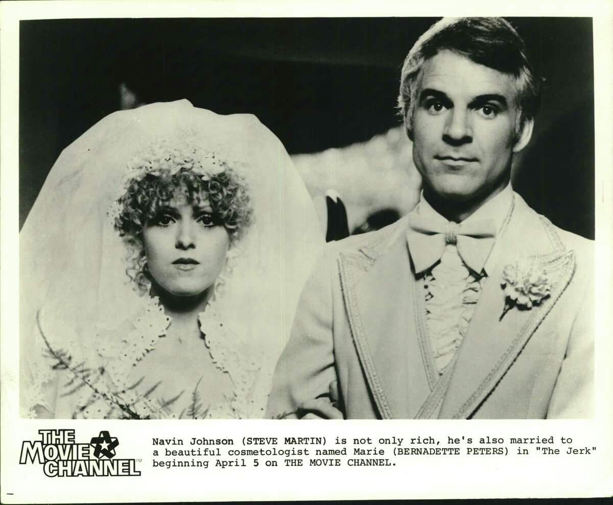 """Navin Johnson (comedian Steve Martin) is not only rich, he's also married to a beautiful cosmetologist named Marie (Bernadette Peters) in """"The Jerk."""""""