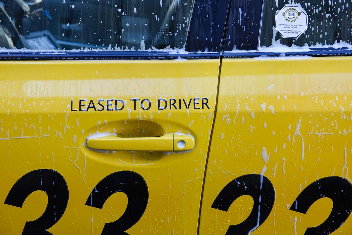A taxi cab being washed at Yellow Cab headquarters in San Francisco on October 23, 2019 in San Francisco, Calif.
