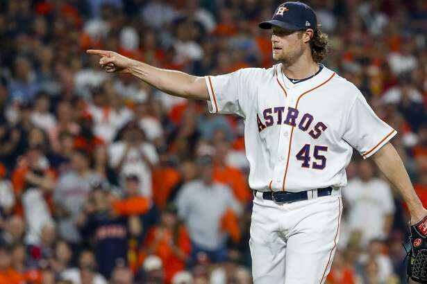 Houston Astros starting pitcher Gerrit Cole (45) appeals for a strike during the third inning of Game 1 of the World Series at Minute Maid Park in Houston on Tuesday, Oct. 22, 2019.