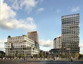 A rendering of the proposed first phase of the Mission Rock development in San Francisco. The 23-story residential tower by Studio Gang is on the right. The building on the left is designed by WORKac, with buildings designed by MVRDV (left) and Henning Larsen (right) shown behind them. Mission Rock is being developed by Tishman Speyer and the San Francisco Giants.