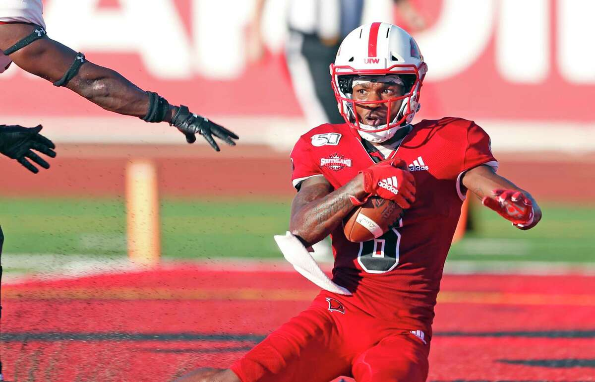 UIW wide receiver Lamont Johnson holds onto a touchdown reception against Lamar on Friday, October 19, 2019 at University of Incarnate Word.
