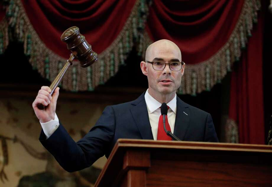 House Speaker Dennis Bonnen, R-Angleton, strikes the gavel during the first day of the 86th Texas Legislative session, Tuesday, Jan. 8, 2019, in Austin, Texas. (AP Photo/Eric Gay) Photo: Eric Gay, STF / Associated Press / Copyright 2019 The Associated Press. All rights reserved.