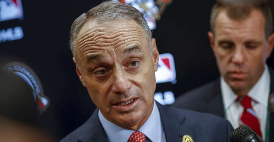 MLB Commissioner Rob Manfred answers questions before Game 3 of the baseball World Series between the Houston Astros and the Washington Nationals Friday, Oct. 25, 2019, in Washington. (AP Photo/Patrick Semansky) Photo: Patrick Semansky/Associated Press