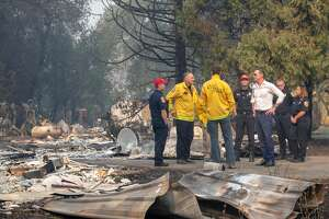 GEYSERVILLE, CA -  OCT. 25: Gov. Gavin Newsom tours a home destroyed in the Kincade Fire, with Cal Fire officials, Friday, Oct. 25, 2019, in Geyserville, Calif. (Karl Mondon/MediaNews Group/The Mercury News via Getty Images)