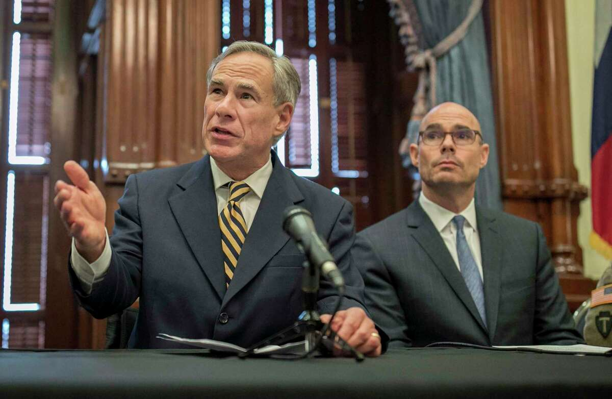 Gov. Greg Abbott is shown with House Speaker Dennis Bonnen, right, at a news conference at the Capitol, Friday June 21, 2019 in Austin, Texas.