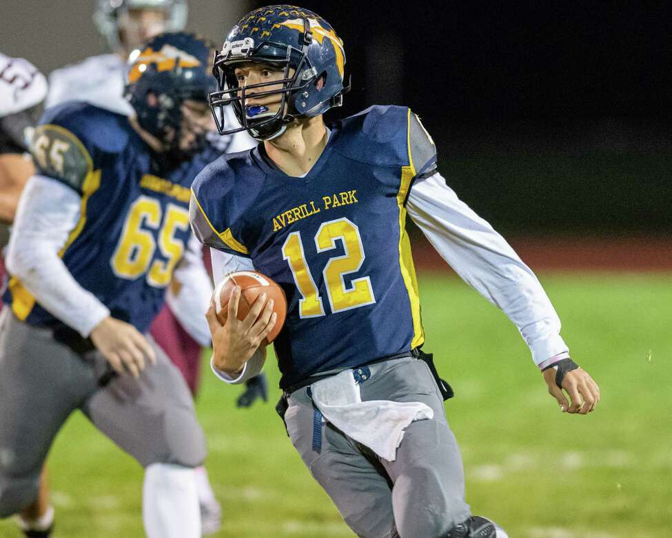 Averill Park quarterback Anthony Childrose finds running room against Burnt Hills Ballston Lake during the Section II Class A quarterfinal football game at Averill Park High School on Friday, Oct. 25, 2019 (Jim Franco/Special to the Times Union.)