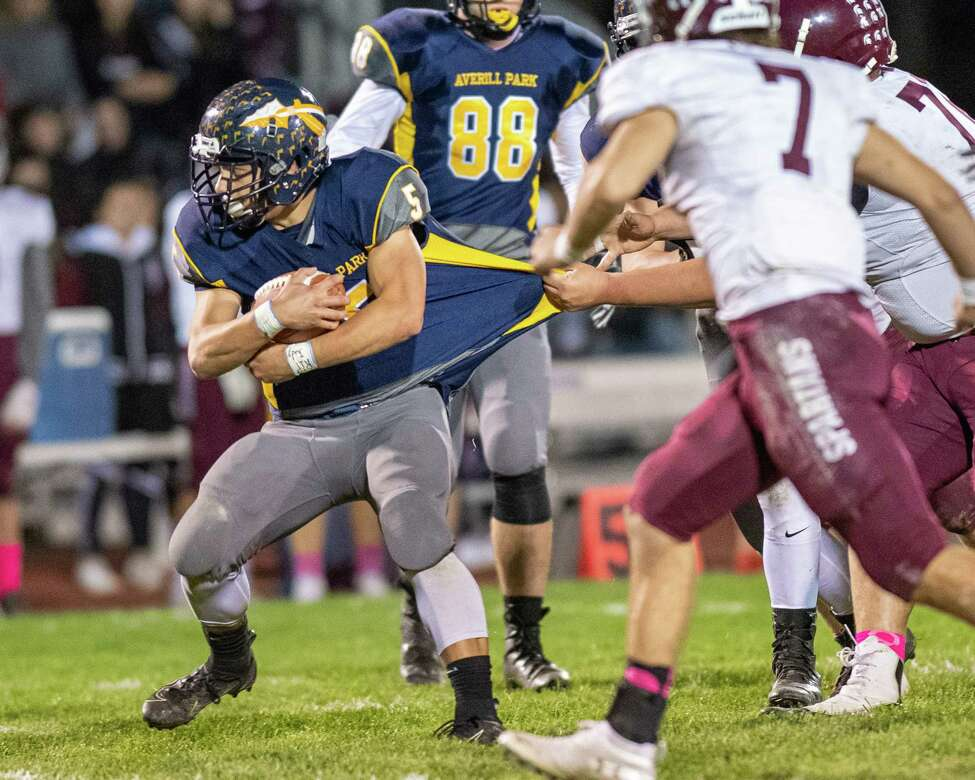 Averill Park running back Dan McShane tries to break free against Burnt Hills Ballston Lake during the Section II Class A quarterfinal football game at Averill Park High School on Friday, Oct. 25, 2019 (Jim Franco/Special to the Times Union.)