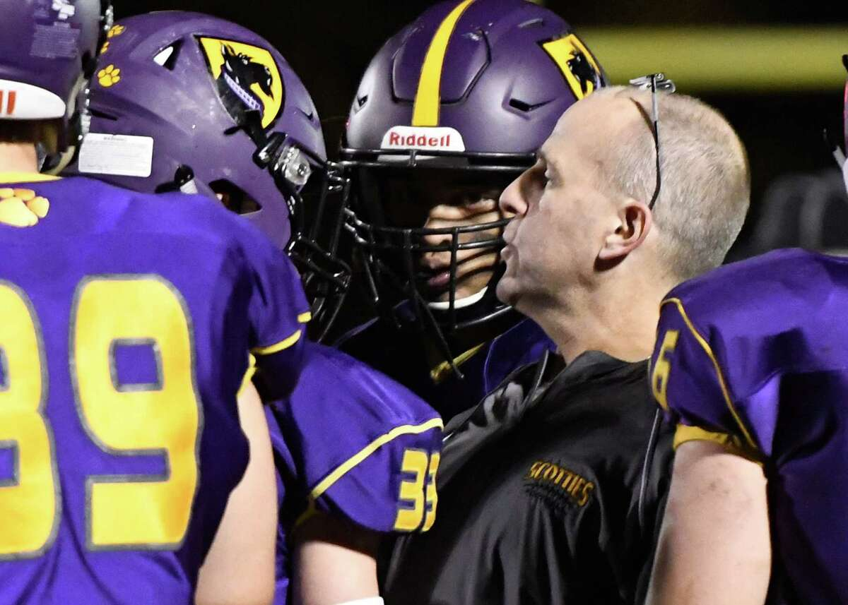 Ballston Spa interim coach Greg O'Connor speaks to his offense during their Class A quarterfinal game against Amsterdam on Friday, Oct. 25, 2019, in Ballston Spa, N.Y. (Jenn March, Special to the Times Union )