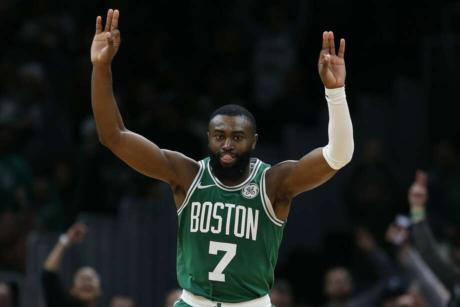 The Celtics' Jaylen Brown celebrates after scoring a 3-pointer in the second half of a victory over the Raptors in Boston. Brown had 25 points, nine rebounds and four assists. Photo: Michael Dwyer / Associated Press