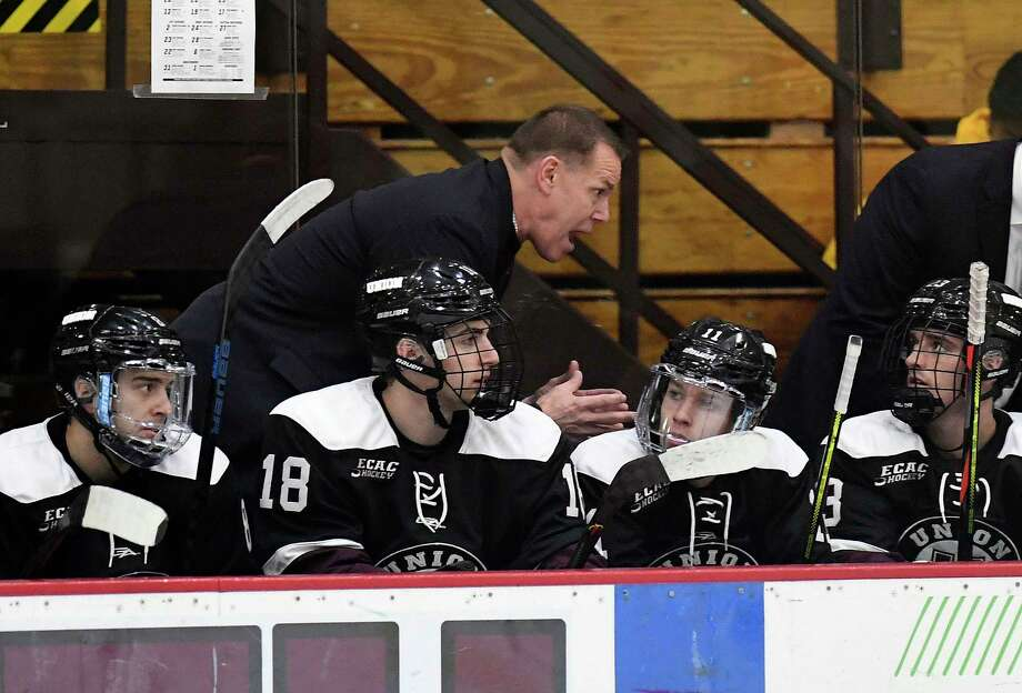 Union head coach Rick Bennett instruct his players against Rensselaer Polytechnic Institute during the second period of an NCAA hockey game Friday Oct. 25, 2019, in Schenectady, N.Y. (Hans Pennink / Special to the Times Union) Photo: Hans Pennink / Hans Pennink