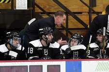 Union head coach Rick Bennett instruct his players against Rensselaer Polytechnic Institute during the second period of an NCAA hockey game Friday Oct. 25, 2019, in Schenectady, N.Y. (Hans Pennink / Special to the Times Union)