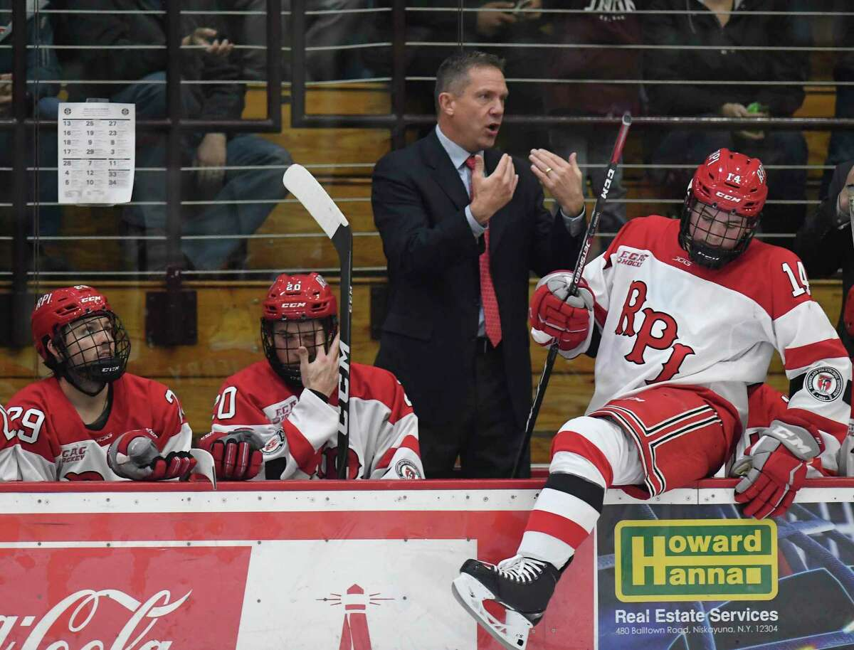Rensselaer Polytechnic Institute head coach Dave Smith instructs his players against Union during the second period of an NCAA hockey game Friday Oct. 25, 2019, in Schenectady, N.Y. (Hans Pennink / Special to the Times Union)