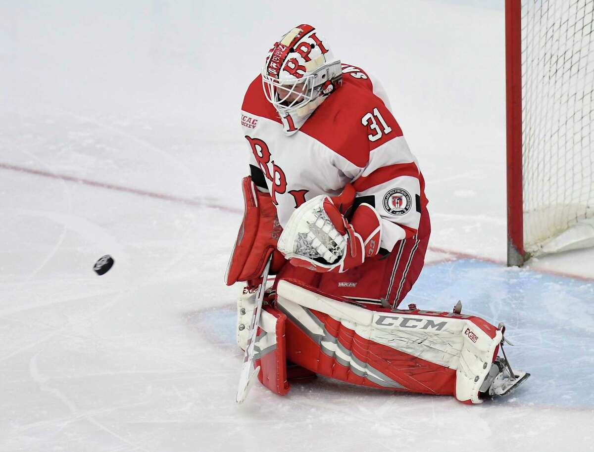 Rensselaer Polytechnic Institute goaltender Owen Savory (31) makes a save against Union during the first period of an NCAA hockey game Friday Oct. 25, 2019, in Schenectady, N.Y. (Hans Pennink / Special to the Times Union)