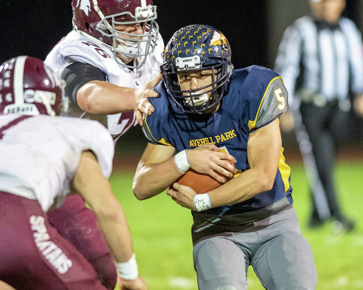 Averill Park running back Dan McShane finds some running room against Burnt Hills Ballston Lake during the Section II Class A quarterfinal football game at Averill Park High School on Friday, Oct. 25, 2019 (Jim Franco/Special to the Times Union.)