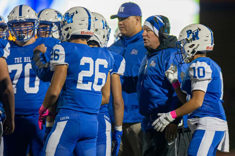 Barbers Hill Eagle head coach Tom Westerberg talking to the team on the field during the first half of action between the Barbers Hill Eagles and the Crosby Cougars during an UIL 5A high school football game at the Barbers Hill Eagle Stadium, Friday, October 25, 2019, in Rosenberg. (Juan DeLeon/Contributor)