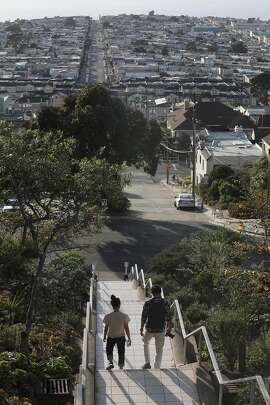 Overview of the Sunset district looking towards the ocean  from the top of the 16th & Moraga tiled steps in the Sunset district seen on Thursday, Oct. 24, 2019, in San Francisco, Calif.