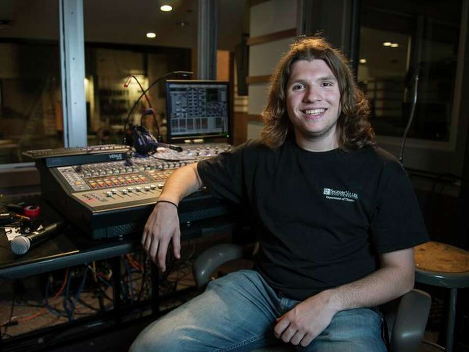 "Lucas Inman works behind-the-scenes in the weeks leading up to the SVSU production of ""Proof,"" which debuts Oct. 30 (Photo provided/Tim Inman, SVSU)."