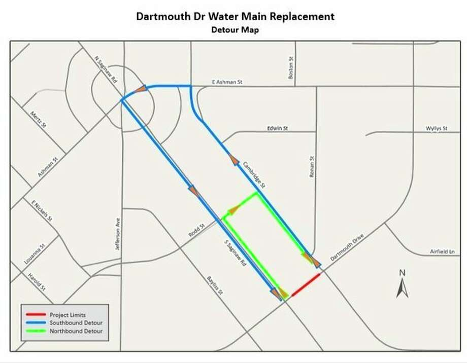 A map showsthe detour drivers should take during the water main replacement on Dartmouth Drive in Midland.(map provided)