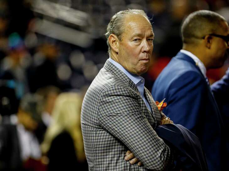 Astros owner Jim Crane watches batting practice before Game 3 of the World Series at Nationals Park in Washington, D.C. on Friday, Oct. 25, 2019.