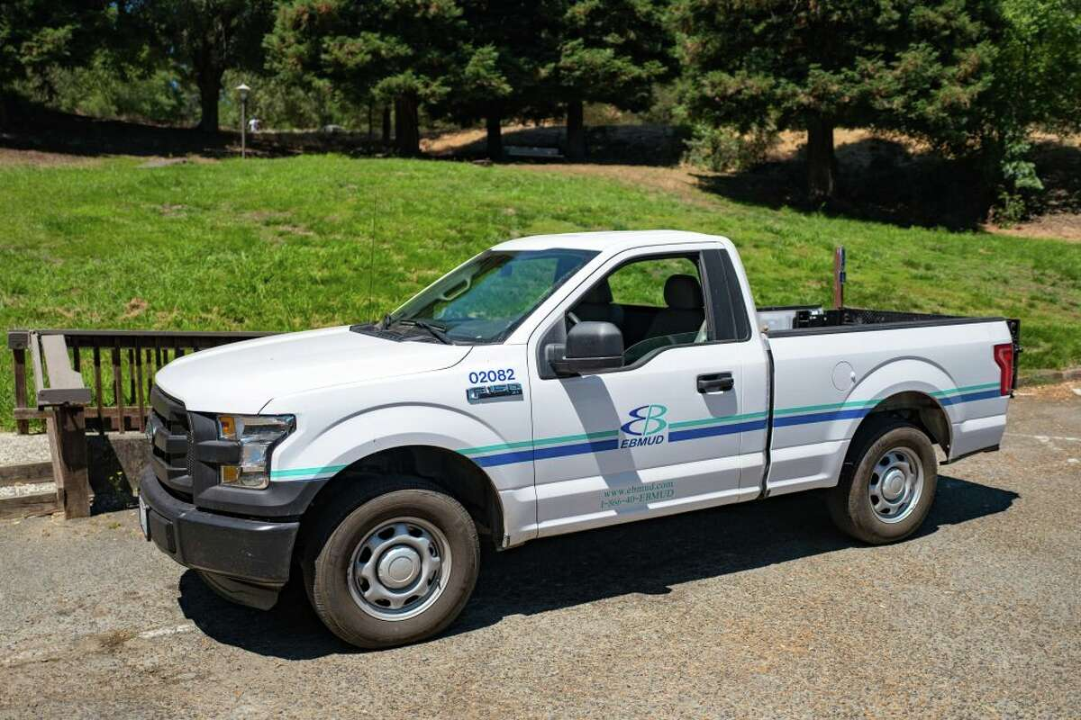 Utility truck with logo for the East Bay Municipal Utility District, Lafayette, California, July 28, 2017