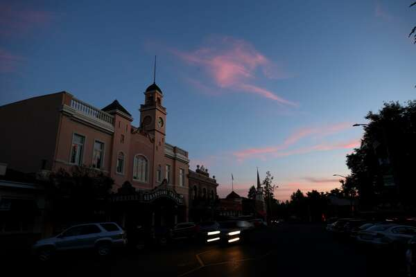 The Sebastiani Theatre and much of downtown Sonoma in the dark on October 10, 2019. Power outages were scheduled as preemptive moves by PG&E to address hot, dry and windy weather and the risk of wildfires, according to the company.