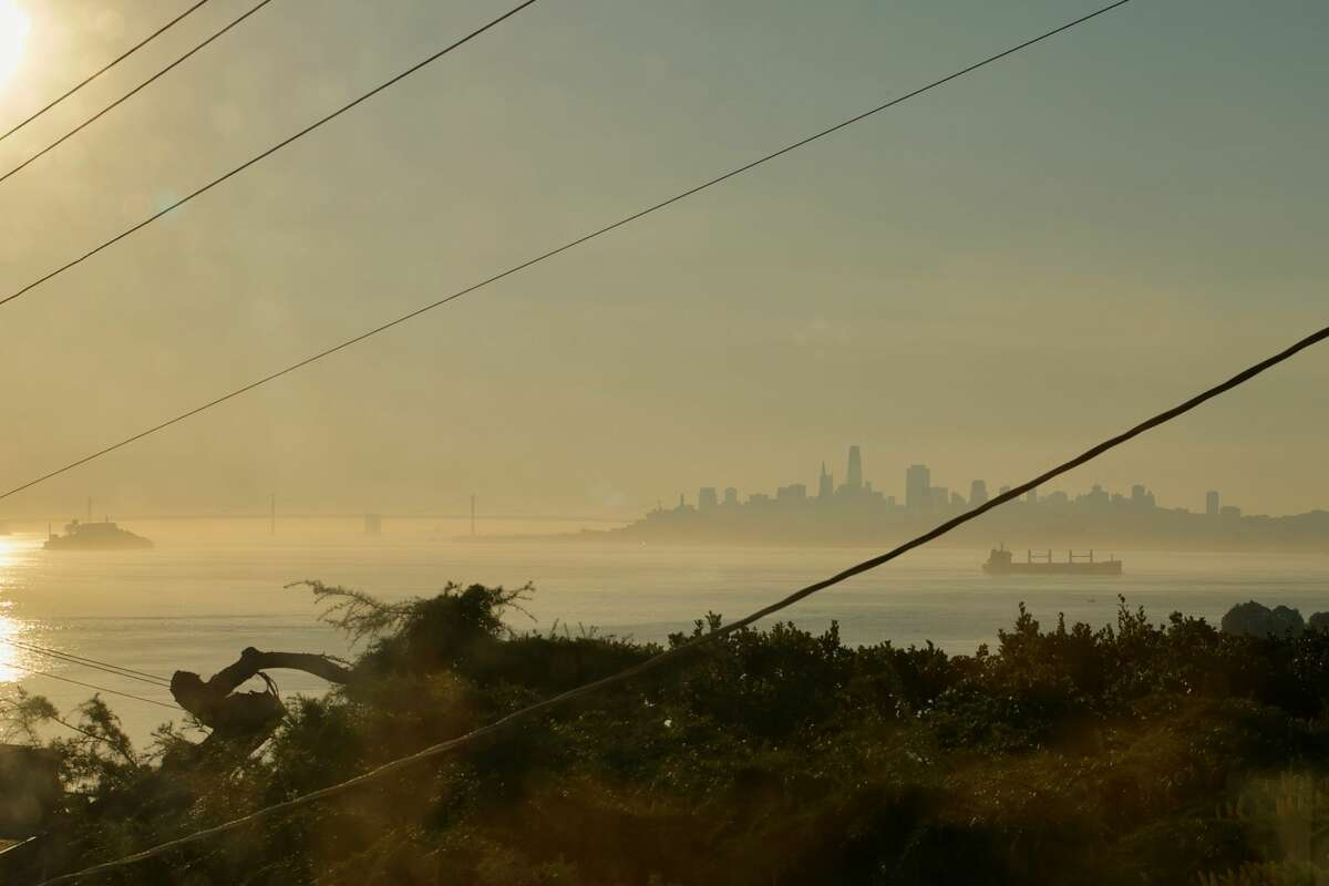 A photo take on Oct. 26, 2019, shows the smoke over San Francisco Bay as the Kincade Fire rages nearby in north Sonoma Countyl