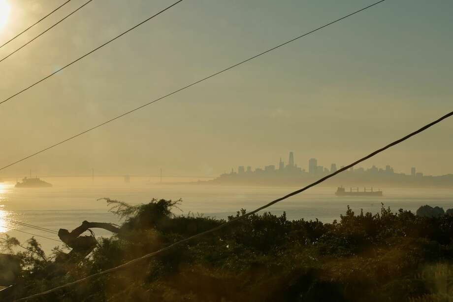 A photo take on Oct. 26, 2019, shows the smoke over San Francisco Bay as the Kincade Fire rages nearby in north Sonoma Countyl Photo: Addison Olian