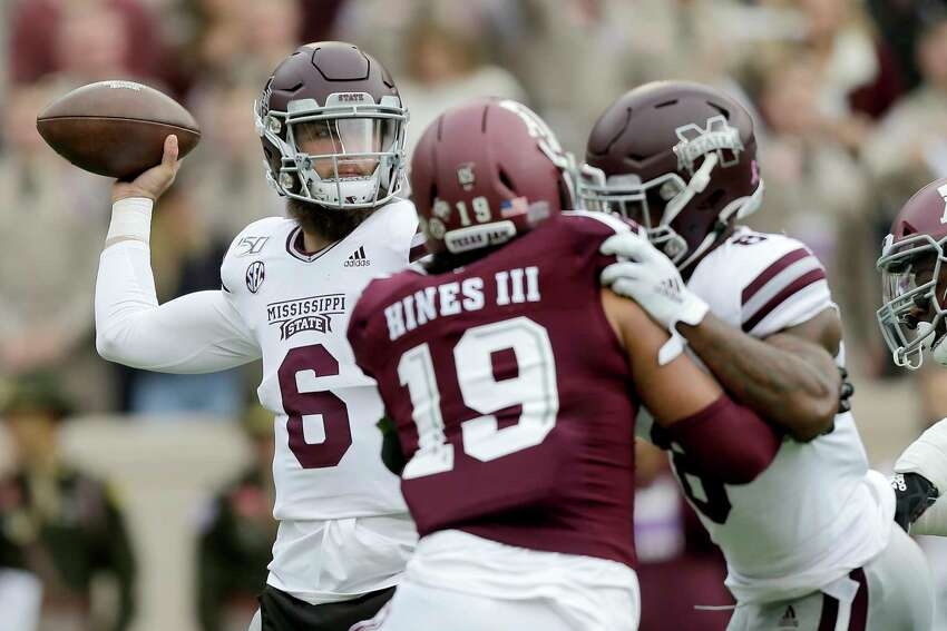Mississippi State quarterback Garrett Shrader (6) looks to pass against Texas A&M during the first quarter of an NCAA college football game, Saturday, Oct. 26, 2019, in College Station, Texas. (AP Photo/Sam Craft)